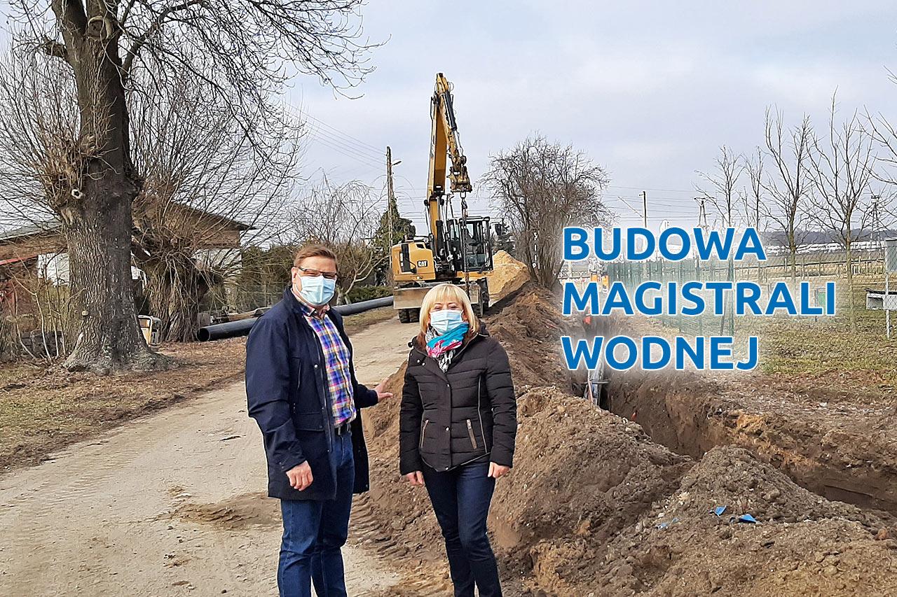 Paweł Przepióra na budowie magistrali wodociągowej w Dopiewcu